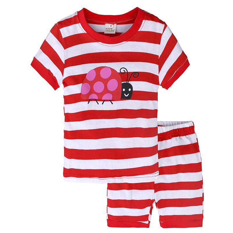 Conjuntos de ropa de niña de verano Conjunto de rayas Bebé Ropa de niñas Camiseta Pantalones cortos Ropa de niños Mariquita