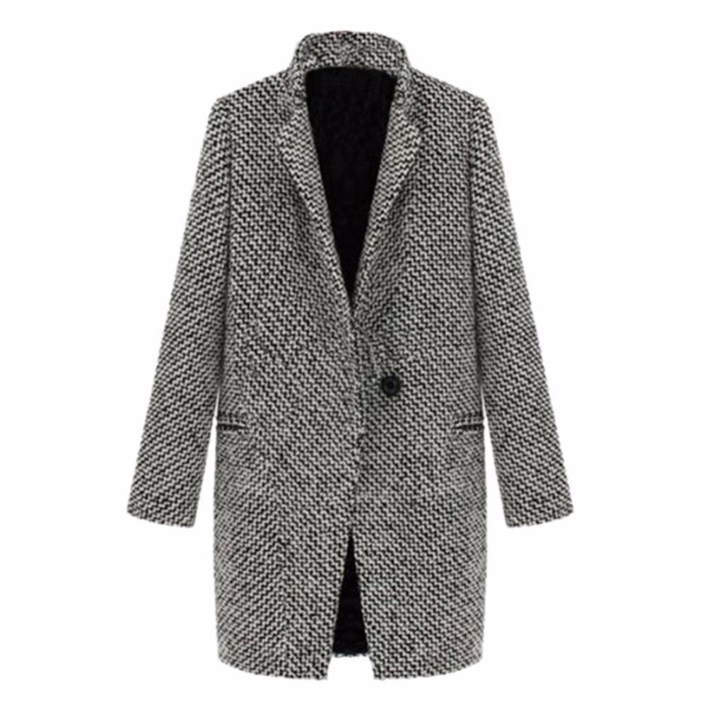 WEIXINBUY 2016 Vintage Donna Autunno Primavera Lungo Cappotto Parka Giacca Trench misto lana Risvolto Outwear ZT1