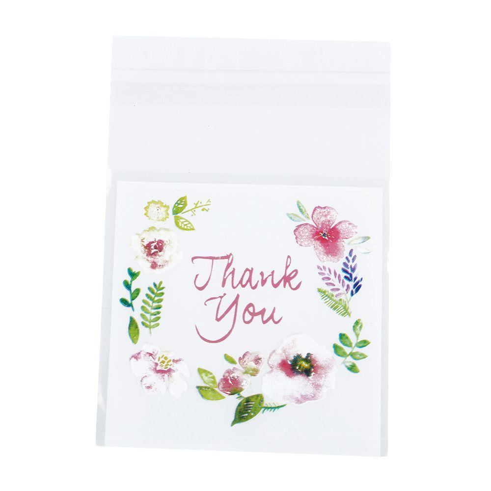 Patrón de flores de agradecimiento autoadhesivas bolsas de plástico de la galleta de DIY fiesta de regalo de embalaje bolsa de sello de almacenamiento 100 unids / bolsa 4 tamaños