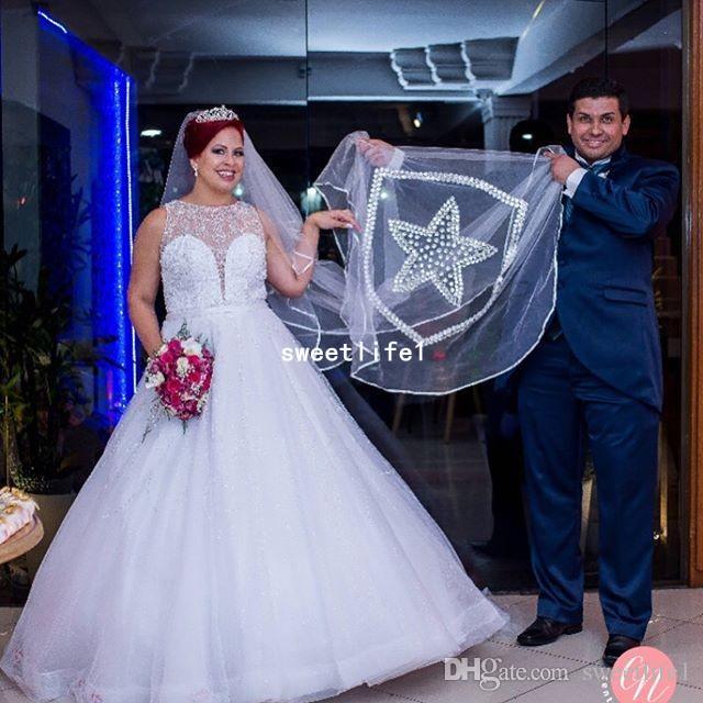 2019 Plus Size Jóia Do Pescoço Vestidos De Casamento Com Strass Frisado A Linha Tulle Sweep Trem Vestido de Noiva Custom Made Hot Sale