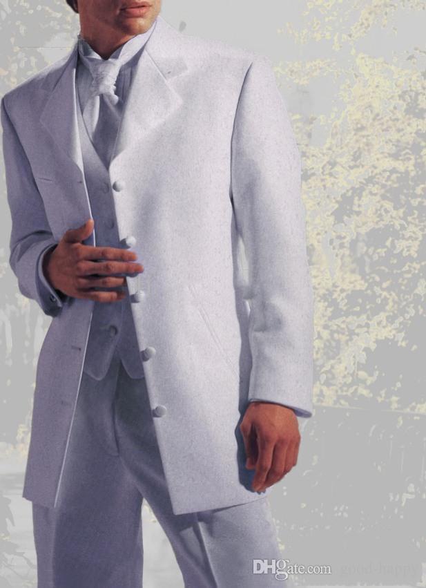 Długi Biały Groom Tuxedos Notch Lapel Pięć Przycisk Mężczyźni Wedding Blazer Doskonałe Mężczyźni Formalne Business Party Party Suit (Kurtka + Spodnie + Kamizelka + Kamizelka) 141