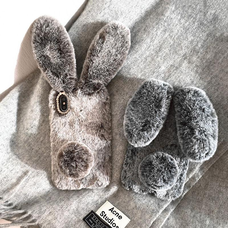 Cute Rabbit Fur Furry Soft TPU Cover For iPhone Xs Xs Max XR 5 5s SE 6 6s 6 6s Plus Case Plush Cover for iPhone 7 8 7 8 Plus