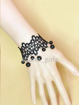Hot novas celebridades de moda europeus e americanos nobres acessórios vintage sexy lace lady pulseira preta moda clássico delicado elegância