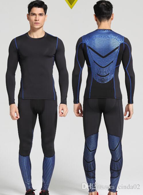 Vente en gros-Men Pro Quick Dry Compression Long Johns Fitness hiver gymming Homme Printemps Automne Sporting Runs Sous-vêtements Thermiques d'entraînement