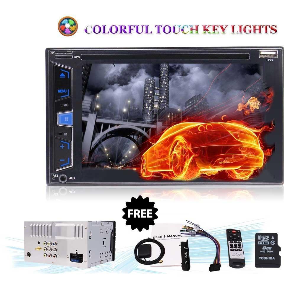 6.2'' Bluetooth Car Stereo Radio Double DIN Headunit Dash Navigation FM/AM/USB/SWC/SD/Subwoofer/DVD Player/Backup Camera Stylish UI