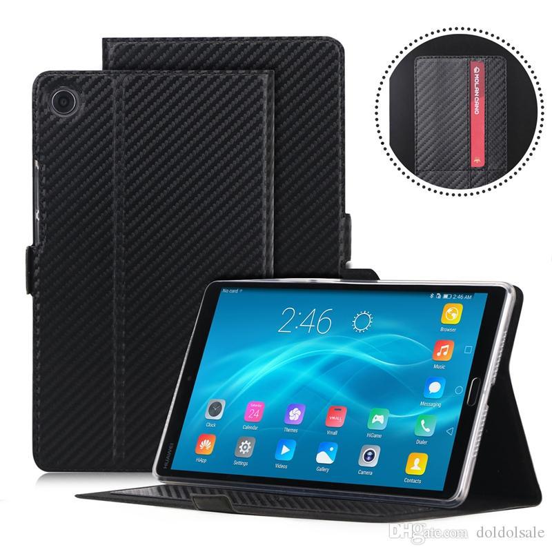 탄소 섬유 패턴 플립 책 표지 Huawei Mediapad M5 8.4 SHT-AL09 SHT-W09 정제를위한 PU 가죽 상자 카드 구멍을 % s 가진 정제