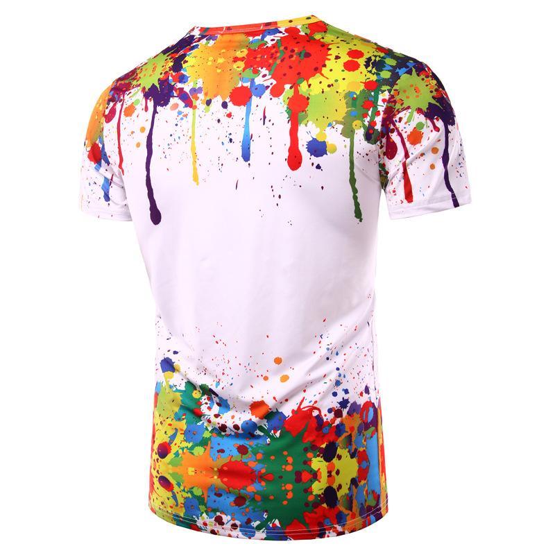Популярный Стиль Мужчины плеснул Paint Style Pattern 3D печать дышащей круглый воротник с коротким рукавом футболка мужчин или женщины