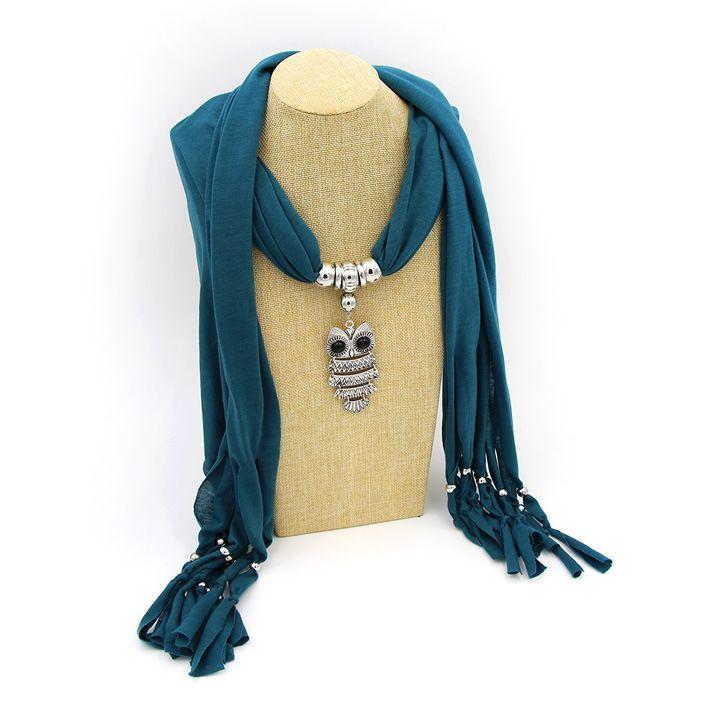 Alliage hibou pendentif gland foulard foulard en polyester frangé dame meilleurs cadeaux bijoux collier scasrves livraison gratuite