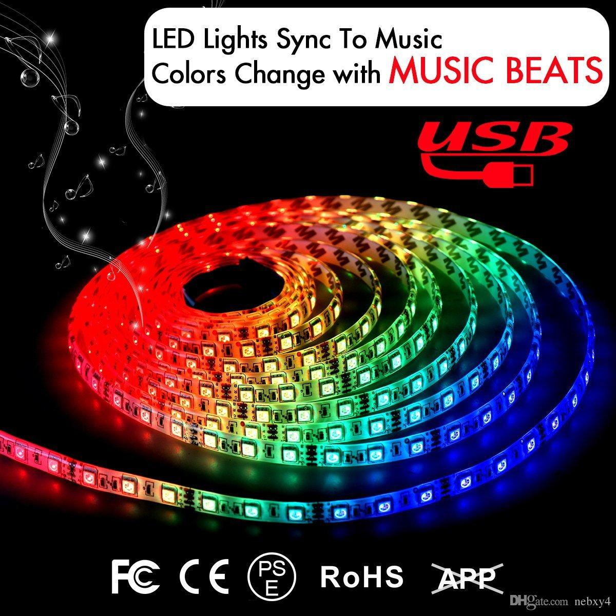 Música LED acende Strip 6,6 pés / 2M 5V Alimentado por USB Light Strip 5050 RGB Color Changing Light com música LED Luzes Cordas Kit com IR Controlador