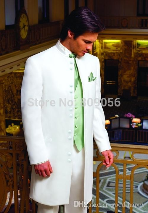 Mandaryn Lapel White Long Groom Smokingi Doskonałe Mężczyźni Wedding Blazer Mężczyźni Formalne Business Party Suit (kurtka + spodnie + krawat + kamizelka) 1144