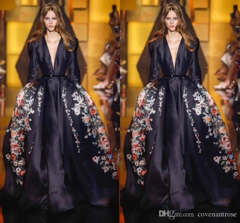 블랙 엘리 사브 이브닝 드레스 긴팔 딥 브이 넥 새틴 패턴 스윕 열차 라인 파티 드레스 레드 카펫 연예인 댄스 파티 드레스