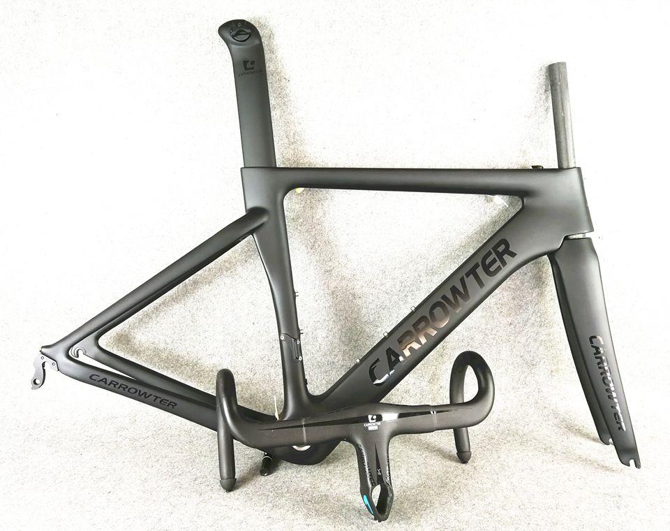 Emballé pour la vente pleine fibre de carbone UD BOB Noir sur Noir CARROWTER carbone cadres de vélo de route + CARROWTER 1K carbone guidon livraison gratuite