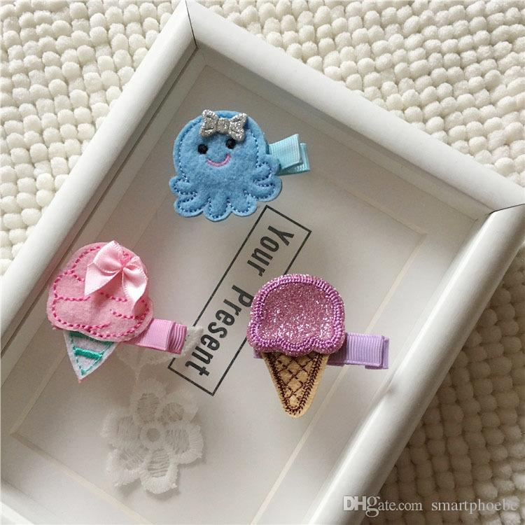 Boutique 15pcs Fashion Cute Felt Icecream Hairpins Kawaii Solid Glitter Mini Octopus Hair Clips Princess Headware Accessories