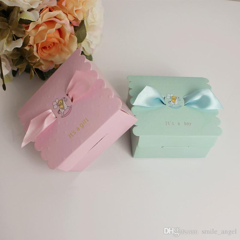Nouveau Sweet Love Bébé Douche Garçon Ou Fille Boîte De Bonbons De Mariage Boîtes De Faveur Créatif Papier Cadeaux Boîtes Parti Décoration Vente Chaude