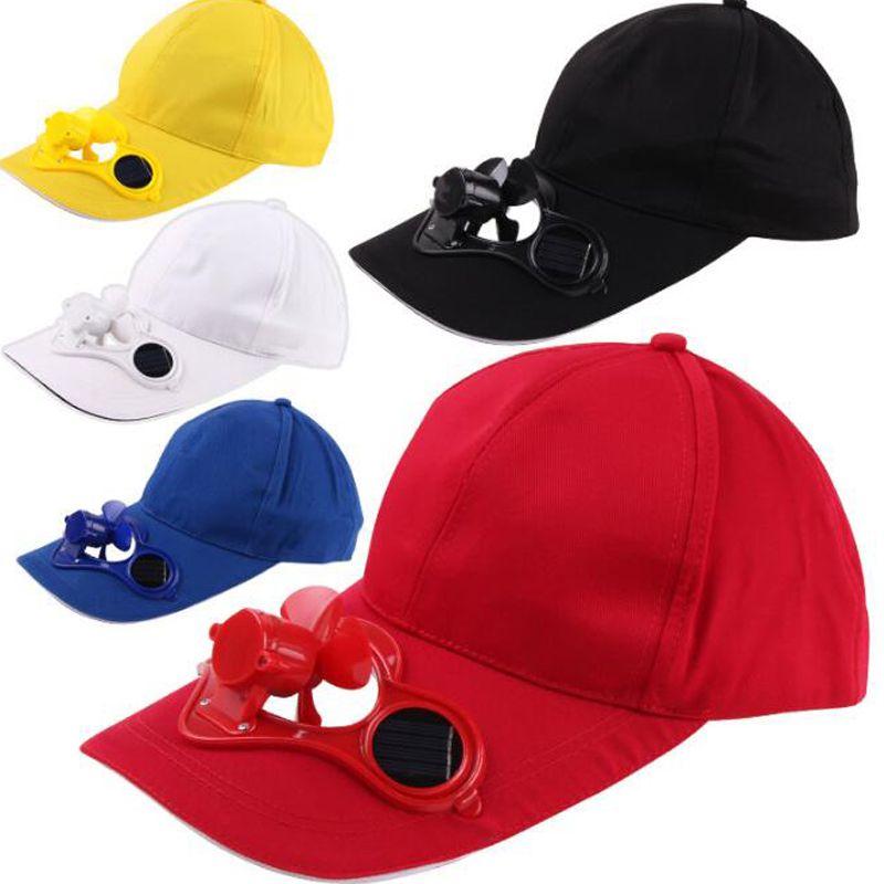 Solar Power Cap Suntan Hat Cooling Cool Fan For Sport Peaked Caps Outdoor Golf Baseball Fishing Snapbacks Baseball Hats 50pcs