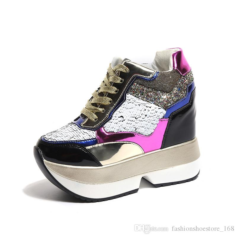 Trainers Sneakers Casual Sequin Wedge Chunky Sole LaceUp Sporty Gym Shoes Womens