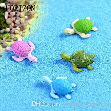 4 Adet Mini Kaplumbağa Kaplumbağa Minyatür Peri Bahçe Dekorasyon DIY Bebek Evi Teraryum Mikro Peyzaj Dekorasyon
