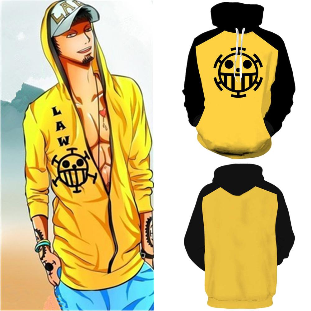 Tamaño asiático Japón Anime One Trace Trafalgar Cosplay Traje Baseball Coat Jacket Unisex 3D manga larga Hoodie