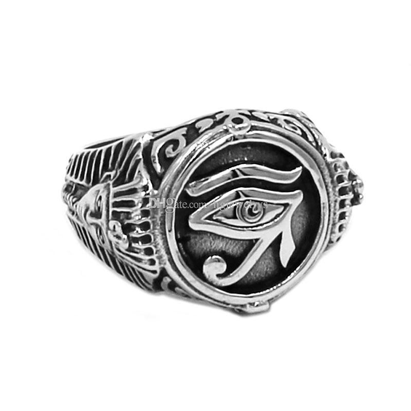 Free shipping! Egyptian Eye of Horus Ra Udjat Amulet Ring Stainless Steel Ring Egypt Pharaoh King Motor Biker Mens Women Ring Wholesale 741B