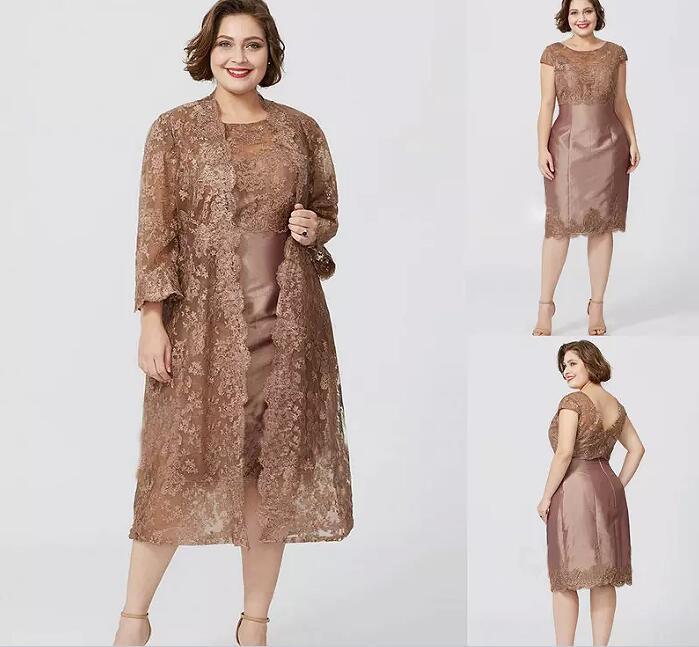 Elegant Mother Of The Bride Dresses Long Sleeve Lace Jacket Tea ...