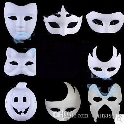 DIY handgemalte Halloween weiße Gesichtsmaske Krone Schmetterling Blankopapier Maske Maskerade Cosplay Maske Kind zeichnen Party Masken Requisiten