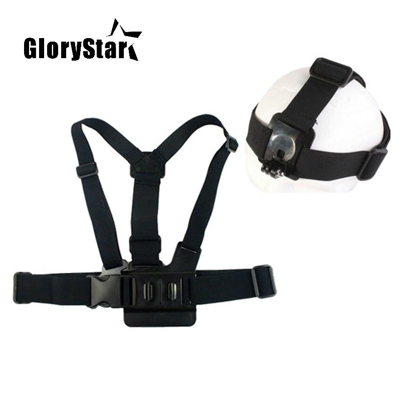 GloryStar Elastic Adjustable Head Strap Mount Belt and Chest Belt Mount Kit For Sports camera Series Action Camera Accessories