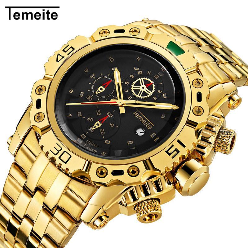 2018 Top Temeite Business Casual Fashion Gold Quartz Zegarek Pełna Ze Stali Nierdzewnej Casual Mężczyźni Zegarki Mężczyzna Zegar Zegarek R