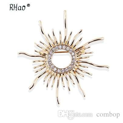 RHao Sun Shaped Brooches For Women Femme Scarf Clip Pins Cool Weeding Coat Cardigan Fine Broche Hijab Pins Scarf Buckles corsage