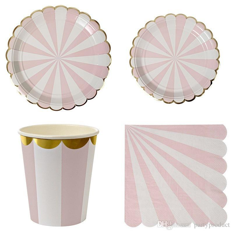 320 قطعة / الحزمة الوردي الأرجواني الأخضر مخطط عشاء ورقة المائدة لوحات الكؤوس المناديل رقائق الذهب ورقة القش إمدادات حزب المائدة