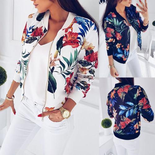 2018 neueste Baseball-Mantel-Art- und Weisefrauen-Damen-Retro- Blumenreißverschluss herauf Bomber-Jacken-beiläufiger Mantel Outwear heißer Verkauf
