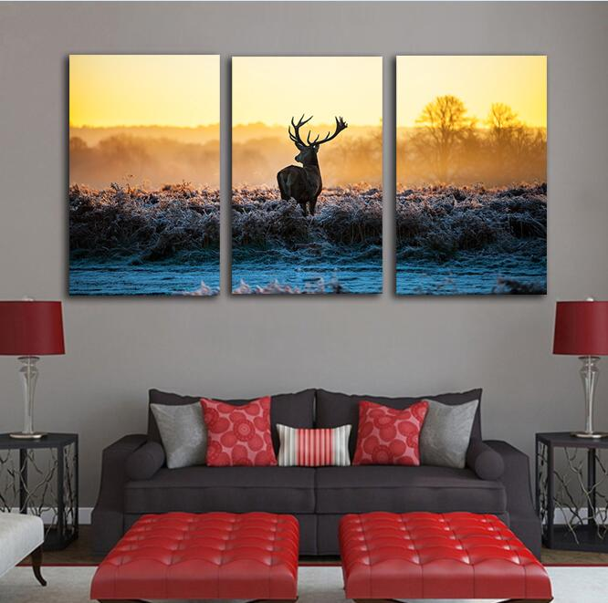 Scenery 3 Panels Sunset Wall Art Poster Deer Animal Canvas Picture Bedroom Home Decoration No Frame
