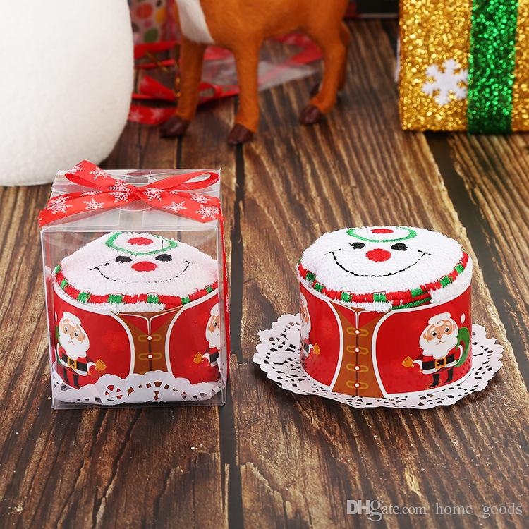Christmas Cake Towel Gifts Xmas Washcloth Dishcloth Soft Towel Pure Cotton Gift