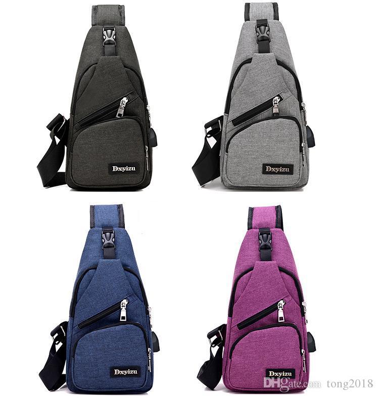 USB Crossbody Bags for Men Messenger Chest Bag Pack Casual Bag Waterproof Nylon Single Shoulder Strap Pack for women wholesale male