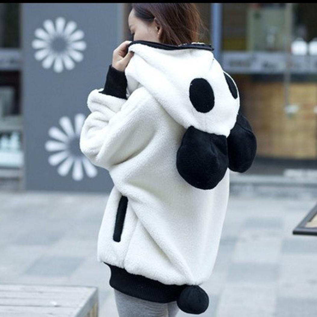 Cute Bear Ear Panda Hoodie Tracksuit Kawaii Winter Keep Warm Hoodie Sweatshirt Women Jacket Outerwear White Overcoat
