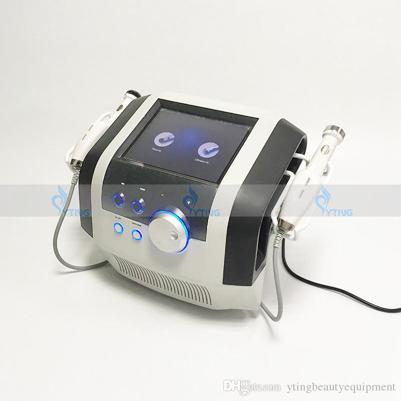 Ultraschall Gesichtsverjüngung Plasma Akne Behandlung Hautstraffung Lift Anti Aging Ultraschall Massagegerät Beauty Spa Maschine mit 2 Griffen