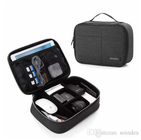 Double Layer Electronic Accessories Organizer Travel Gear Bag for Cables USB Flash Drive Plug (black,blue,grey)