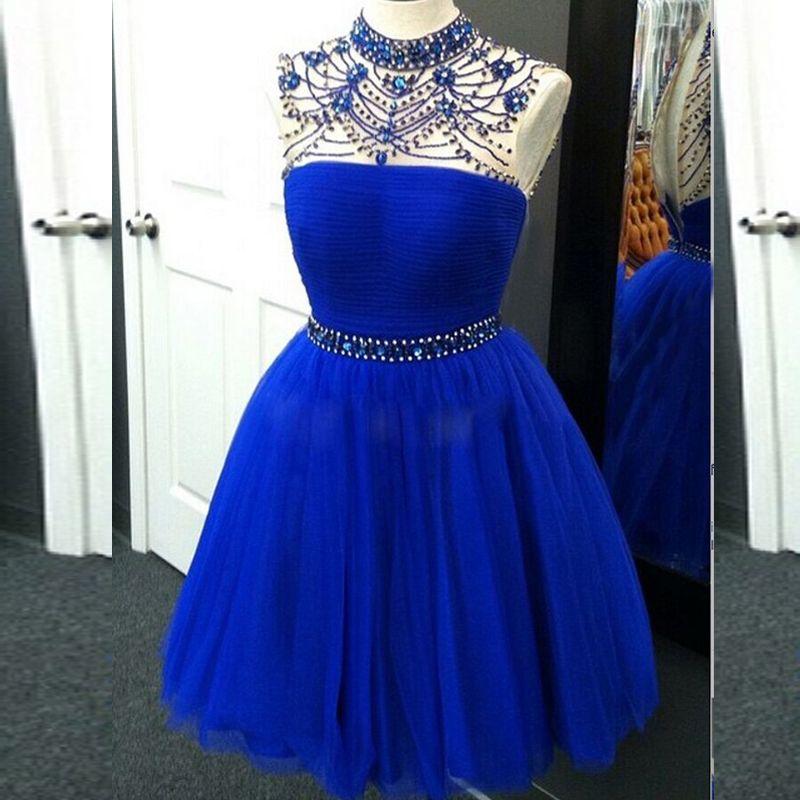 Stunning Royal Blue Brevi abiti da ballo Collo alto Perline Cristalli Perline Impreziositi Abiti da festa formale Vestito da laurea Gonna di tulle