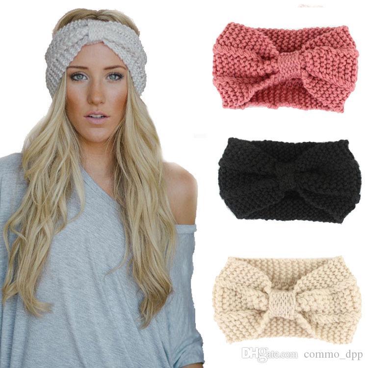 New Designer Women Solid Crochet Bow Bow Knot Turban Tricottato testa avvolgere Hairband Winter Ear Warmer Fascia per capelli Accessori per Lady