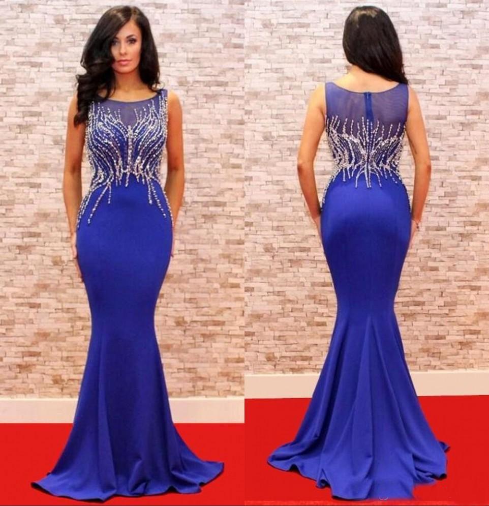 Elegantes cuentas azules vestidos de noche de sirena de cristal 2018 Bling Alfombra roja Vestidos famosos para la fiesta de graduación Grandes vestidos de Gatsby