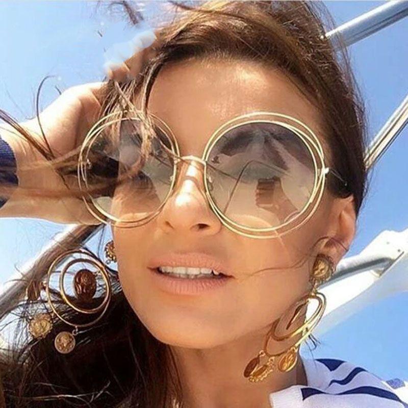 Kadınlar için new Boy Yuvarlak Güneş Gözlüğü Moda Kadınlar Büyük Boy Büyük Retro Ayna Güneş Gözlükleri Lady Kadın Vintage Marka Tasarımcısı UV400