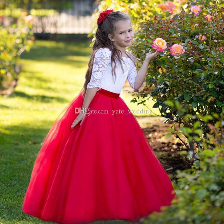 Abiti da ragazza di fiore principessa bianca rossa Collo a barchetta Mezze maniche Pizzo Tulle Lunghezza pavimento Abiti da festa per matrimonio per bambini