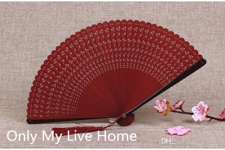 Ventilador plegable de bambú a cielo abierto completo Mini ventilador de mano japonés Fan favor de la boda para las mujeres pequeños ventiladores decorativos chinos