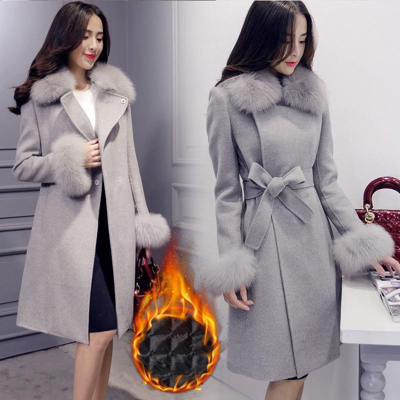 Elegante Mode lange Wollmantel Kragen abnehmbare Pelzkragen Wollmischung Mantel und Jacke solide Frauen Mäntel Herbst Winter