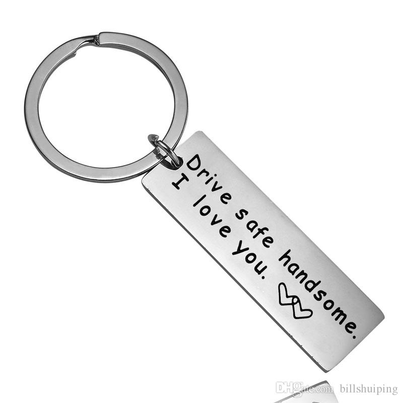 """Drive Safe Quote Keychains '' Drive safe I need you here with me"""" Engraving Gift for Driver Key rings Couple Car Key Holder"""