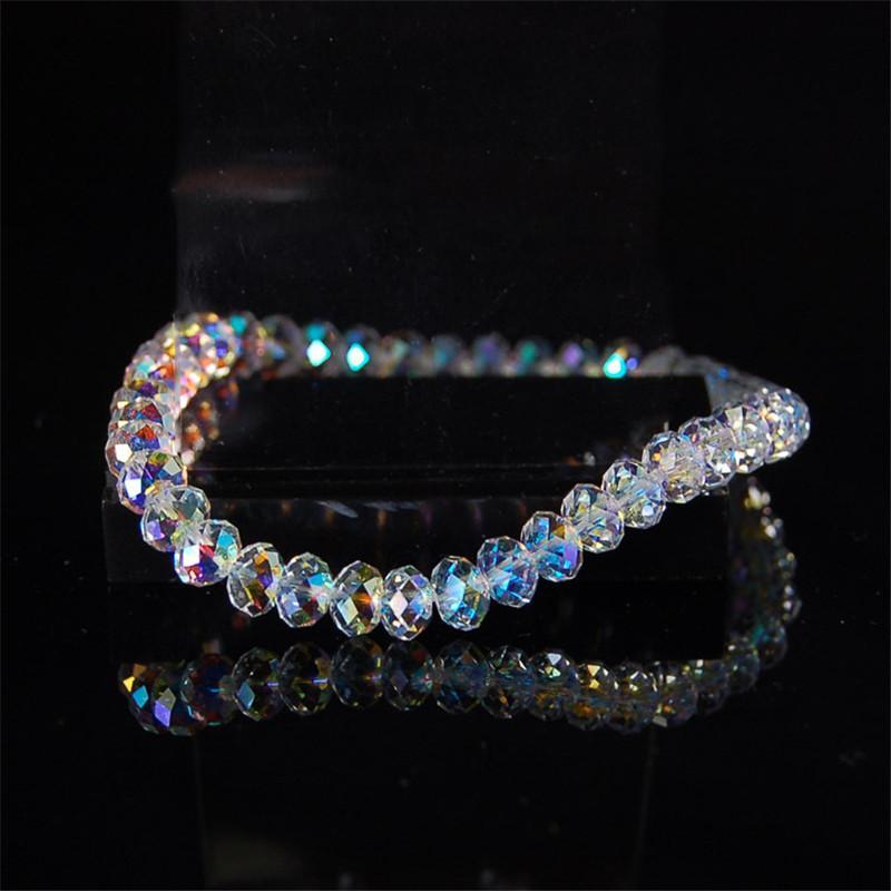 Braccialetti del filo Nuovo artificiale Braccialetto di cristallo Austria lucido di modo di pietra Perline elasticità di corda per i monili delle donne