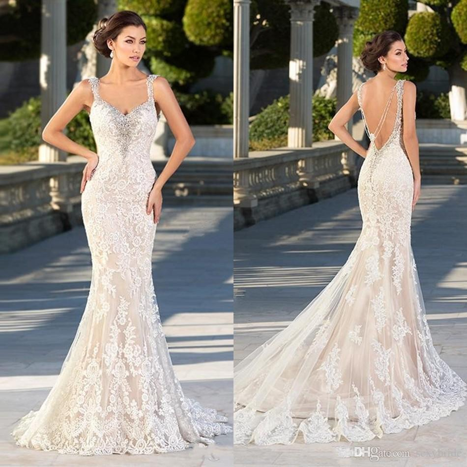 Zuhair Murad Lace Mermaid Wedding Dresses 2018 Lace Appliques Spaghetti Bridal Gowns Backless Sexy Beaded Gothic Trumpet Bridal Dresses