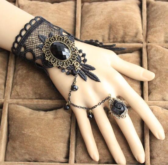 BYSPT 2017 Moda gótica del tatuaje de la borla del cordón de la pulsera de las mujeres clásicas Retro Vintage Charms pulsera para joyería de la boda