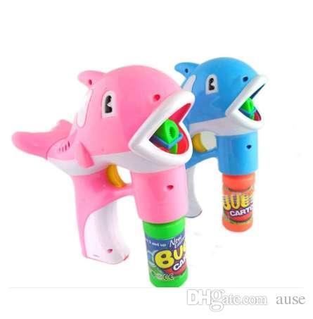 Delfines automáticos con pistola de burbujas Dos pelos mixtos con 2 botellas de agua de burbujas, juguetes eléctricos para niños de la calle