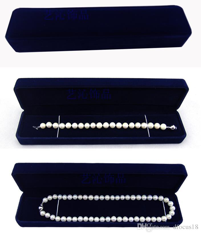 24.5CM*5CM*3.5CM velvet jewelry box long pearl necklace box gift box for double strings free shipping