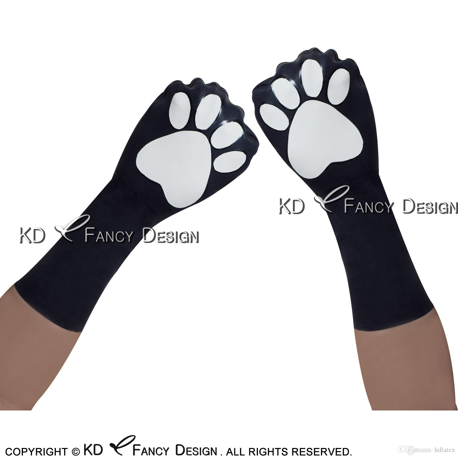 Black With White Footprint Cat Animal Sexy Short Latex Gloves Rubber Mittens Rubber Gloves ST-0021